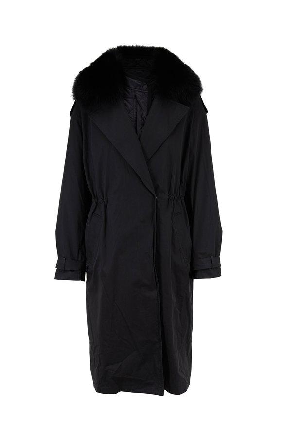 Yves Salomon  Black Drawstring Waist Fur Trim Long Coat