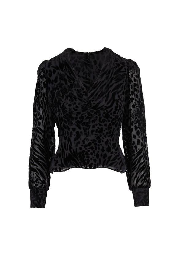 Veronica Beard Giancomo Black Tonal Velvet Leopard Top