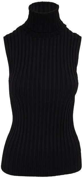Veronica Beard Stefania Black Ribbed Sleeveless Turtleneck