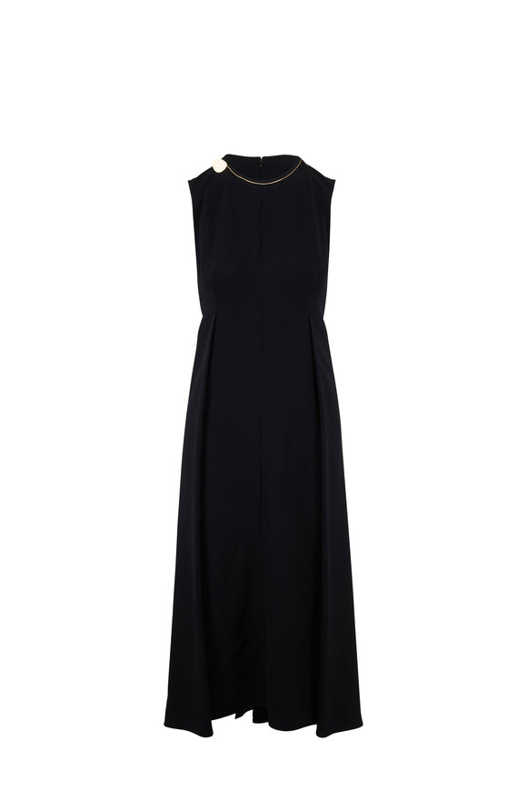 Victoria Beckham Black Fluid Cady Sleeveless Front Pleat Midi Dress