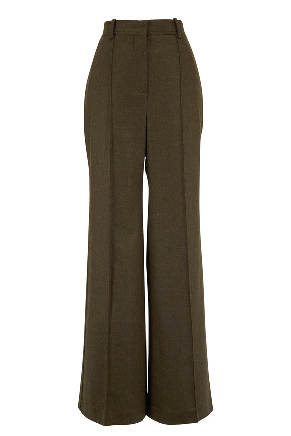 Victoria Beckham Khaki Green Wool High-Waist Wide Leg Pant