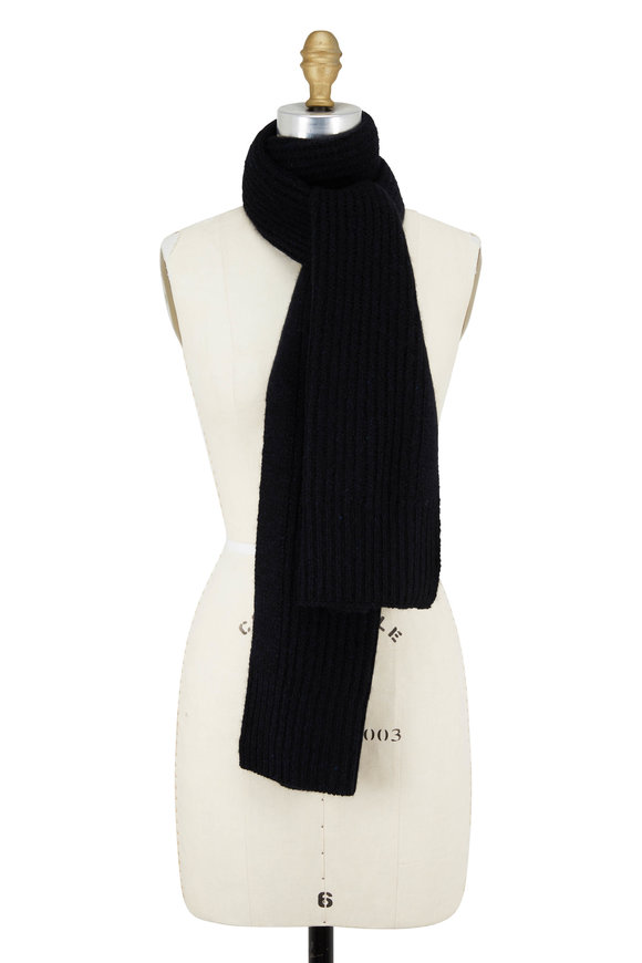 Vince Navy Ribbed Cashmere Scarf