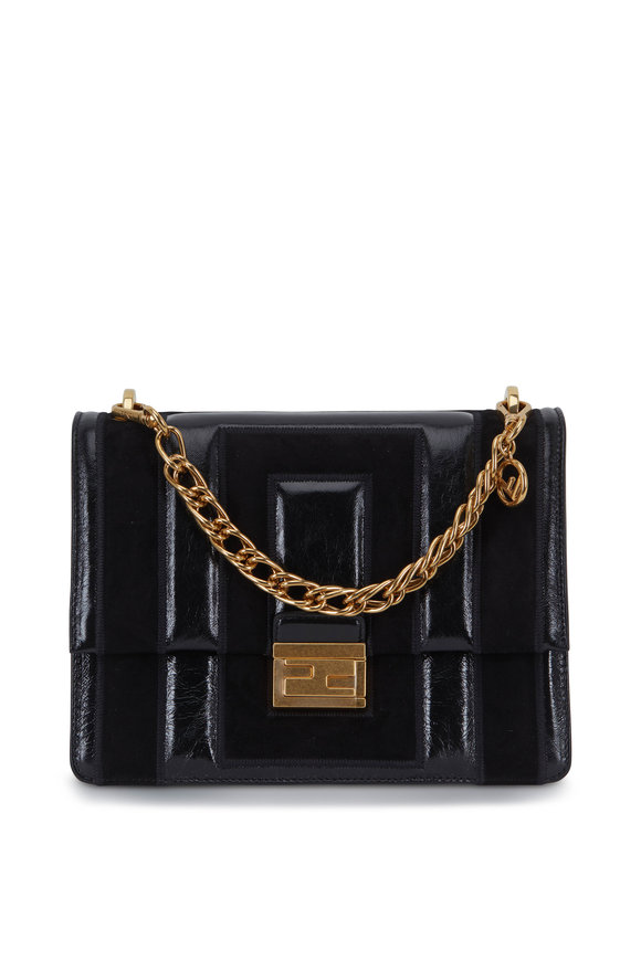 Fendi Kan U Black Suede & Leather Multi Strap Bag