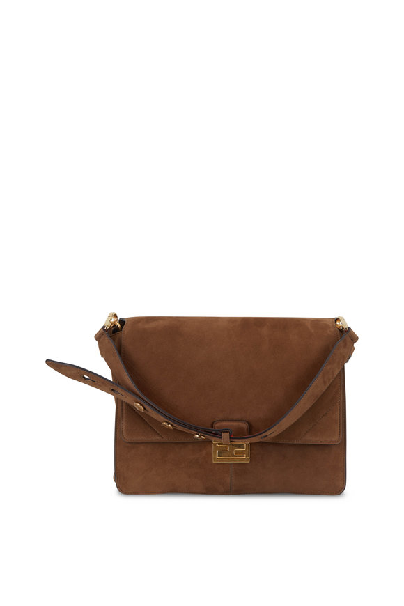 Fendi Kan U Cognac Suede Large Bag