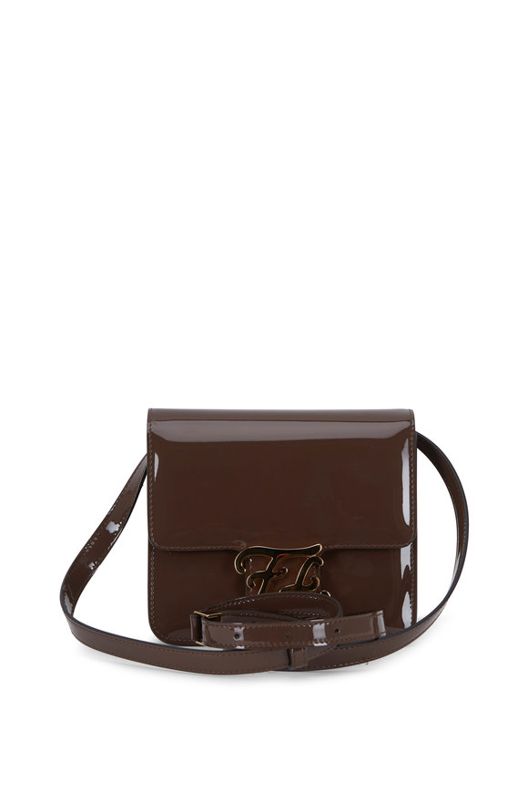 Fendi Karligraphy Brown Patent Leather Small Bag