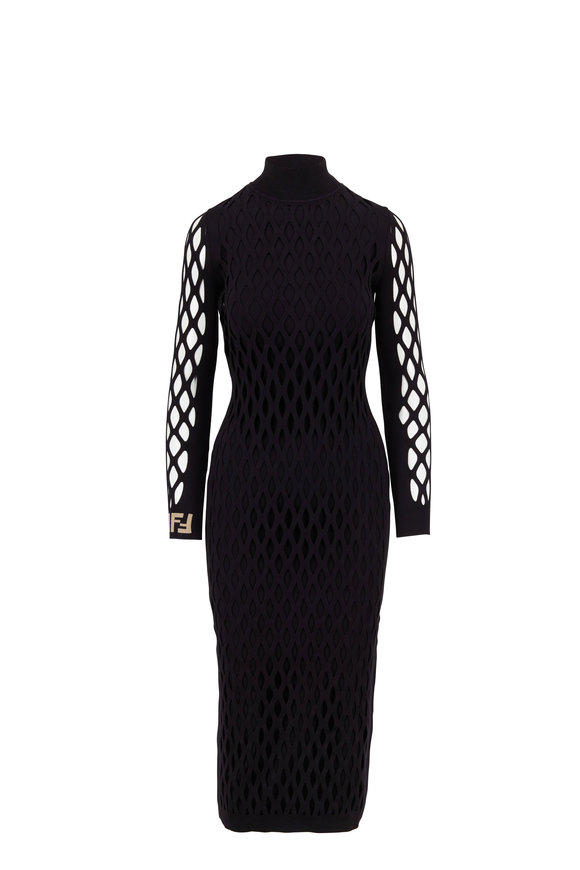 Fendi Black Knit Open Weave Layered Long Dress