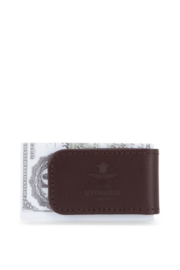 Ettinger Leather Chestnut Leather Magnetic Cash Clip