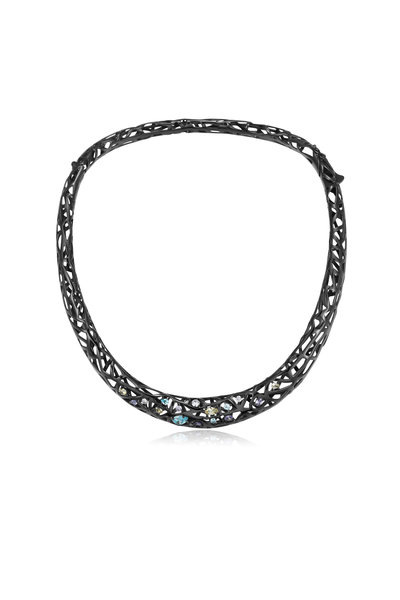 Pianegonda - Sterling Silver & Ruthenium Color Zircon Necklace
