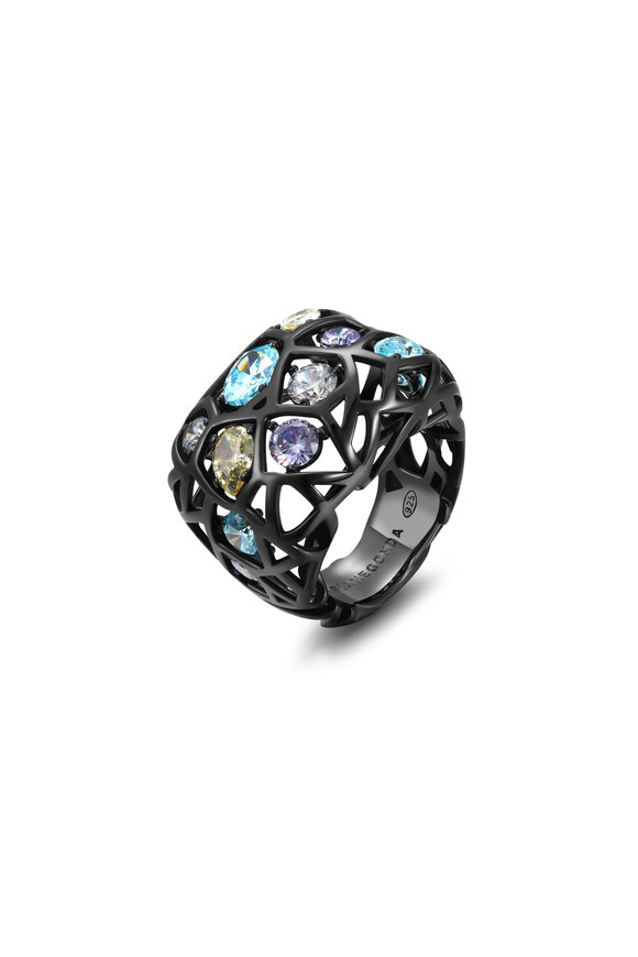 Pianegonda Sterling Silver & Ruthenium Color Zircon Ring