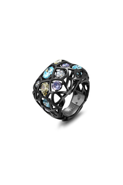 Pianegonda - Sterling Silver & Ruthenium Color Zircon Ring