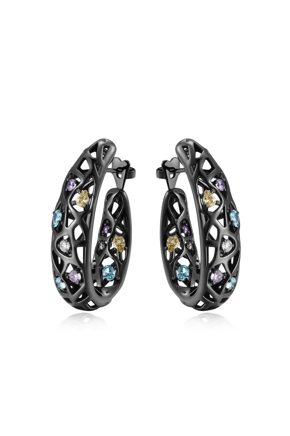 Pianegonda Sterling Silver & Ruthenium Zircon Nexum Earrings