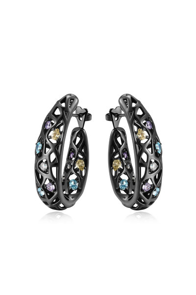 Pianegonda - Sterling Silver & Ruthenium Zircon Nexum Earrings