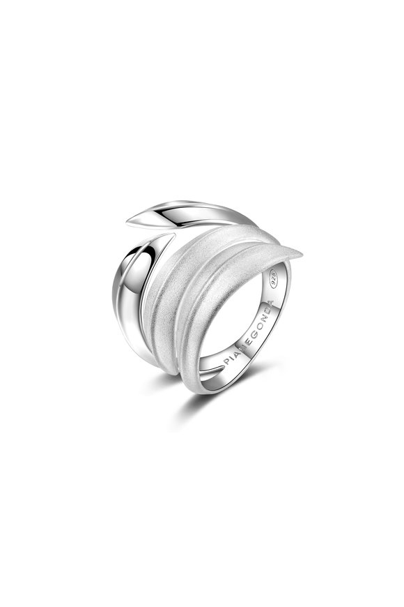 Pianegonda Shiny & Matte Sterling Silver Virentia Ring