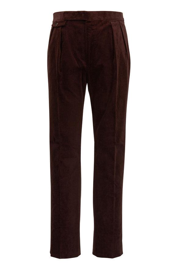 Ralph Lauren Brown Flat Front Corduroy Pant