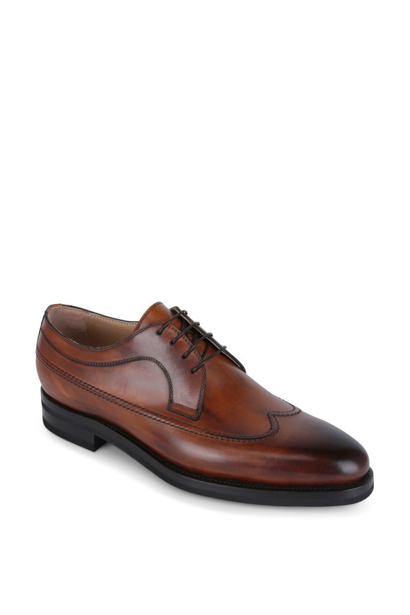 Kiton Cognac Burnished Leather Wingtip Derby Shoe