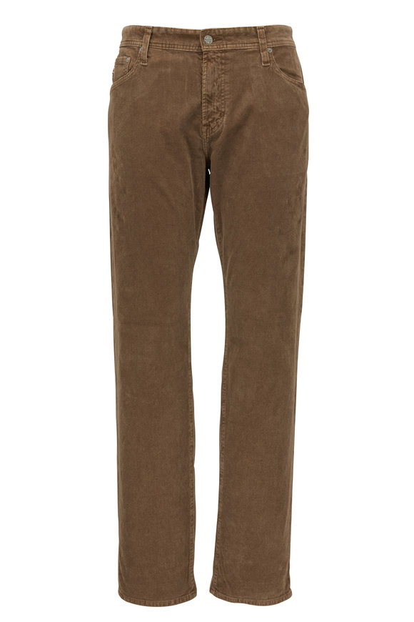 AG - Adriano Goldschmied The Graduate Dark Tan Tailored Leg Corduroy Jean