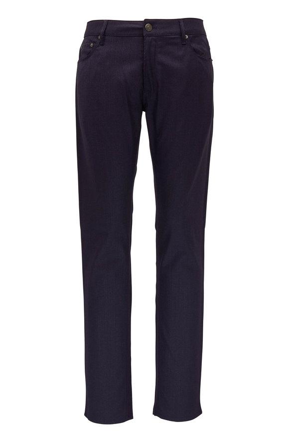 PT Pantaloni Torino Navy Blue Wool Blend Five Pocket Pant
