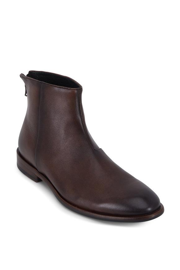 John Varvatos NYC Wood Brown Burnished Leather Back-Zip Boot