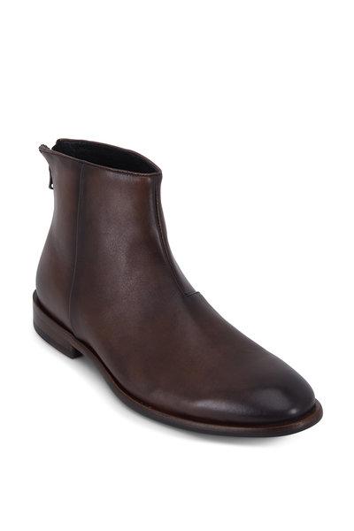John Varvatos - NYC Wood Brown Burnished Leather Back-Zip Boot