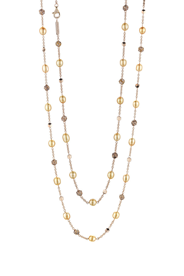 Rose Gold Pearl & Diamond Necklace