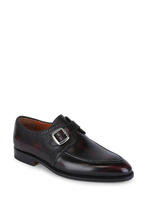 Bontoni Burgundy Burnished Leather Single Monk Shoe