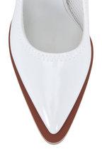 Fendi - White Glossy Neoprene Detachable Strap Pump, 85mm
