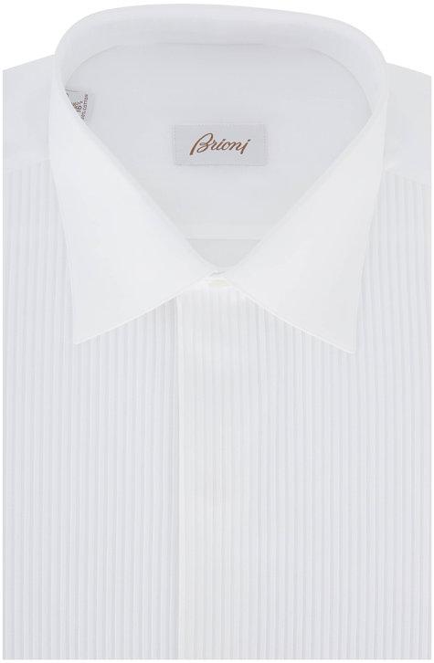 Brioni Solid White Striped Tuxedo Shirt