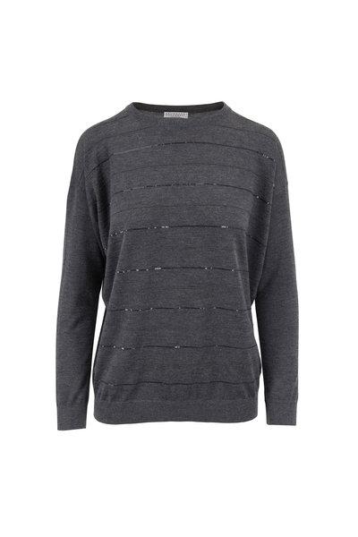 Brunello Cucinelli - Charcoal Gray Monili & Paillete Stripe Sweater