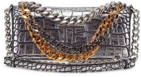 Tom Ford Triple Chain Antiqued Silver Embossed Small Bag
