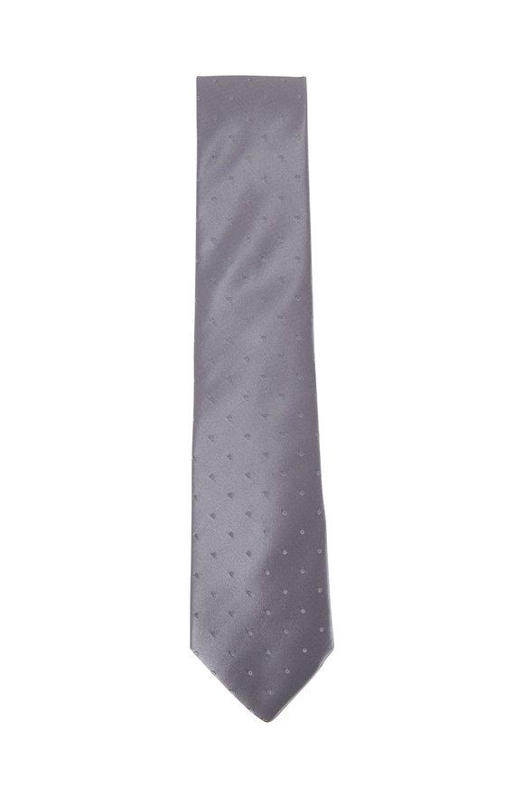 Charvet Silver Satin Dot Necktie