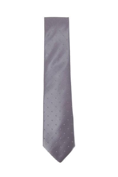 Charvet - Silver Satin Dot Necktie