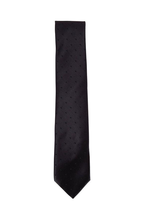 Charvet Black Tonal Dot Silk Necktie