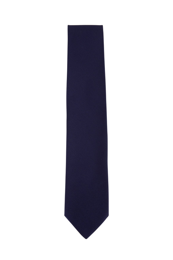 Charvet Navy Blue Textured Silk Necktie