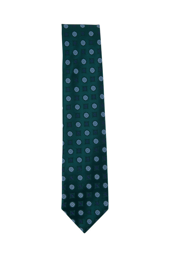 Charvet Emerald Green & Blue Silk Medallion Necktie