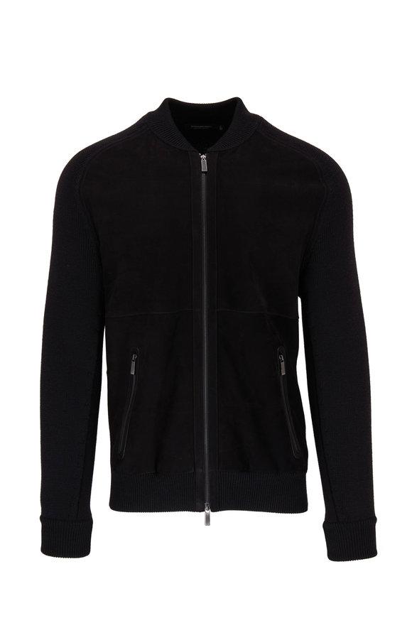 Ermenegildo Zegna Black Wool & Leather Front Zip Cardigan
