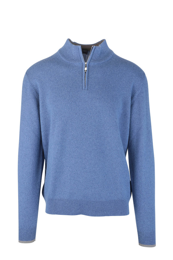 Fedeli Blue Waffle Knit Cashmere Quarter-Zip Pullover