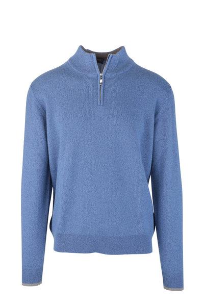 Fedeli - Blue Waffle Knit Cashmere Quarter-Zip Pullover