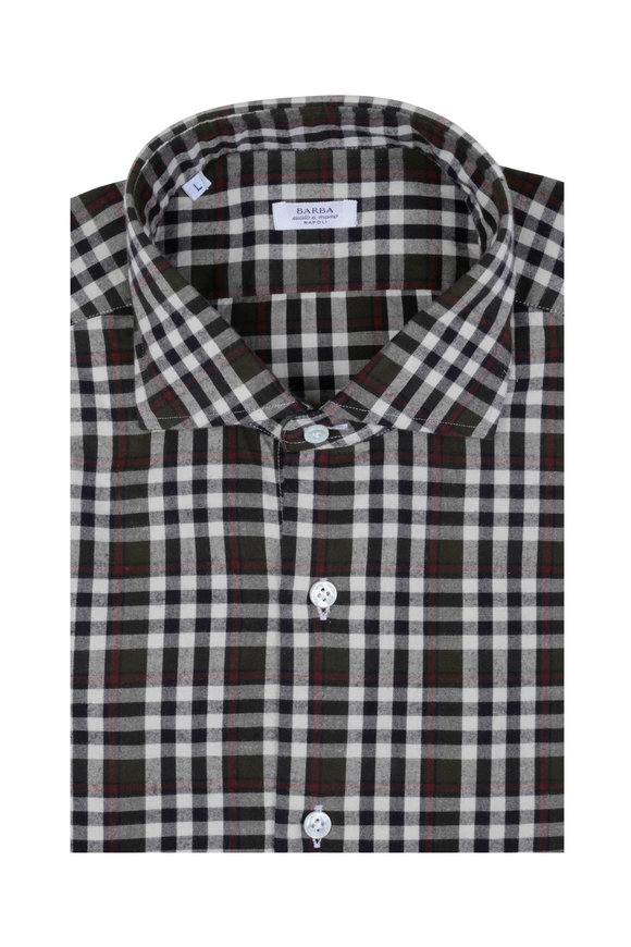 Barba Brown Plaid Sport Shirt