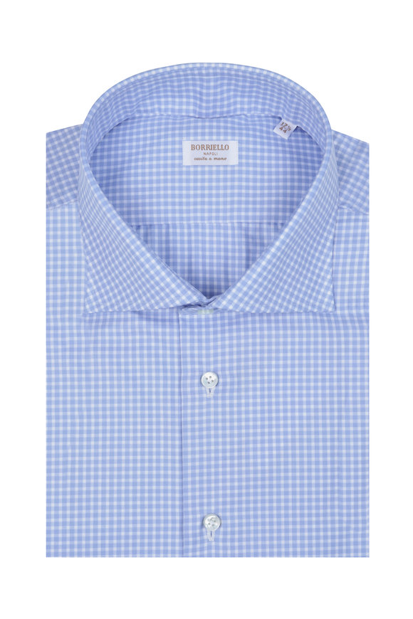 Borriello Blue & White Check Dress Shirt