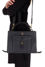 Tom Ford - Hollywood Black Leather Small Top Handle Bag