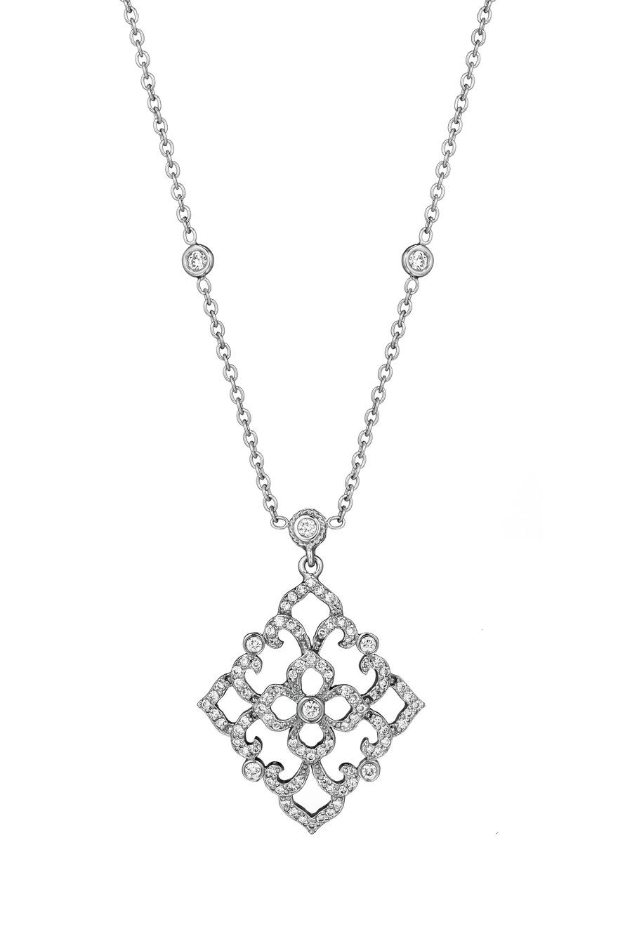 Medium White Gold Lace Pendant