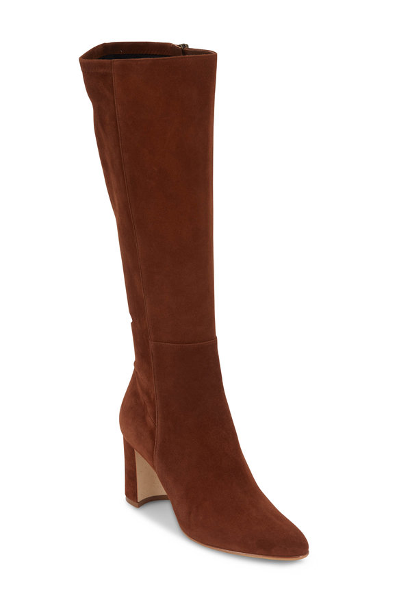 Manolo Blahnik Pita Cognac Suede Knee-High Boot, 70mm