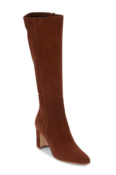 Manolo Blahnik - Pita Cognac Suede Knee-High Boot, 70mm