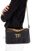 Tom Ford - Black Glossy Python Chain Clutch