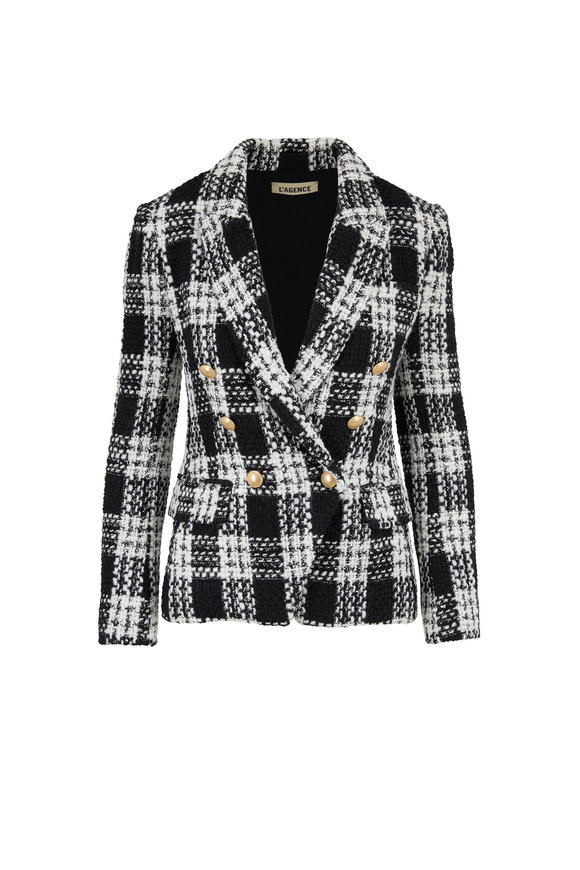 L'Agence Kenzie Black & White Double-Breasted Blazer
