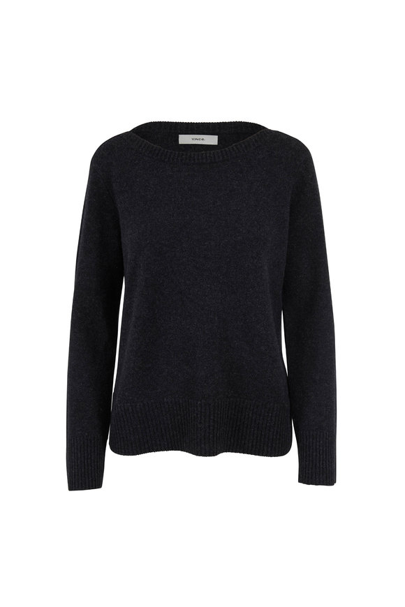 Vince Heather Charcoal Cashmere Boatneck Sweater