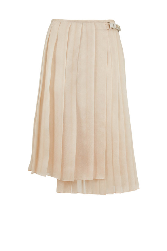 Fendi Gonna Beige Feathers Organza Pleated Skirt