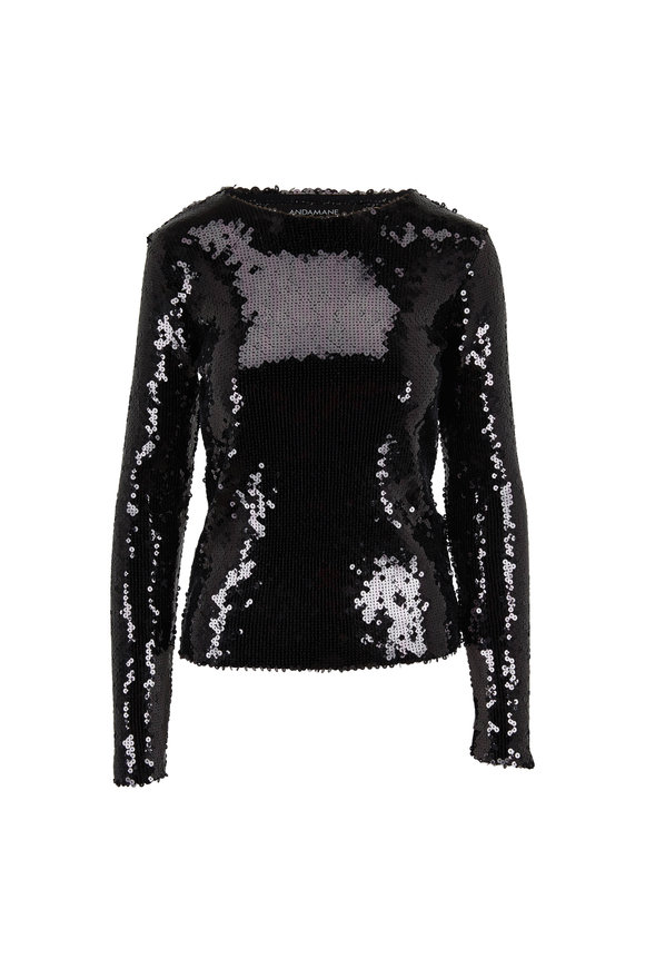 Andamane Black Allover Paillettes Long Sleeve Blouse