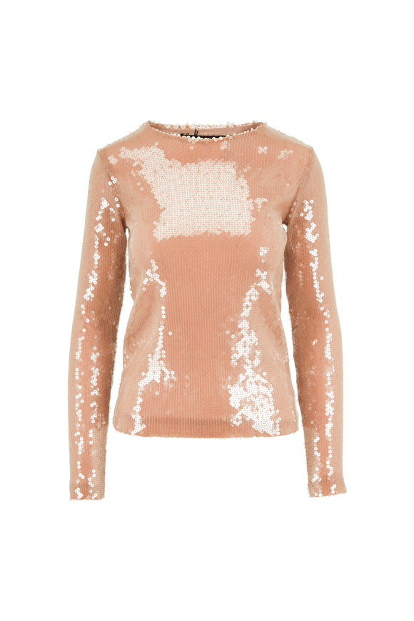 Andamane Nude Allover Paillettes Long Sleeve Blouse