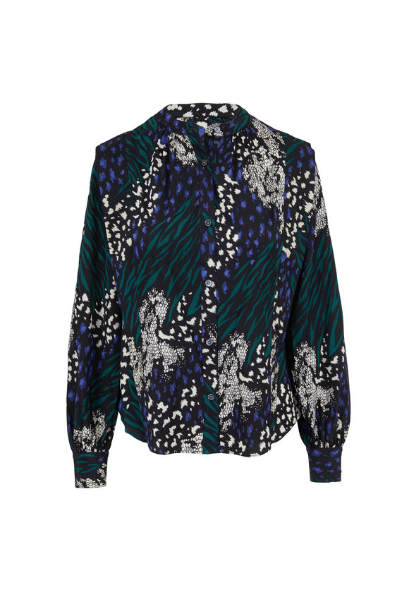 Veronica Beard Buckley Black Multi Printed Blouse
